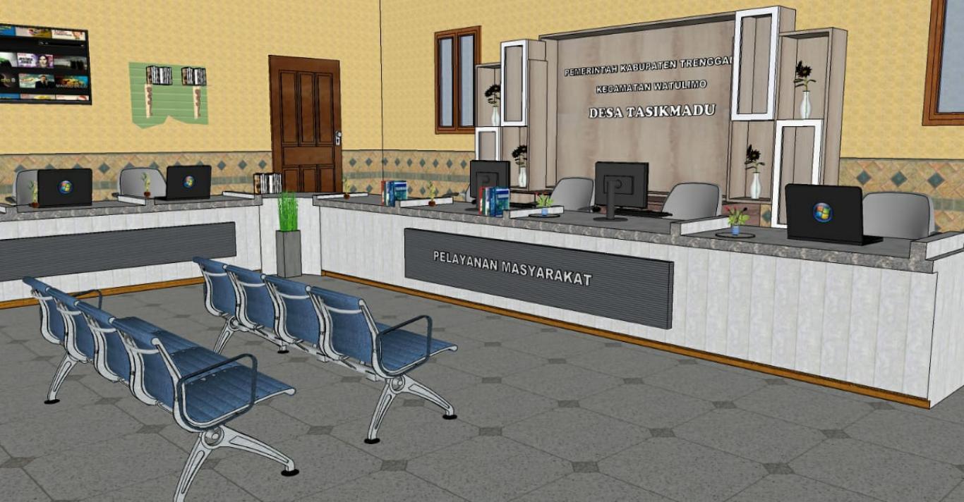 Gambar Pembuatan Meja dan Back Drop Ruang Pelayanan Desa Tasikmadu -  Website Desa Tasikmadu